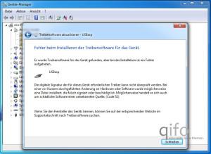 Im Falle der gezeigten Fehlermeldung wird die Installation wiederholt - nun aber mit der aktuellsten Version des heruntergeladenen Treibers.